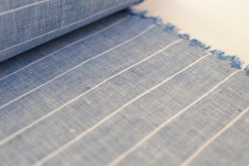 Irisches Leinen denim-blau-weiße Nadelstreifen