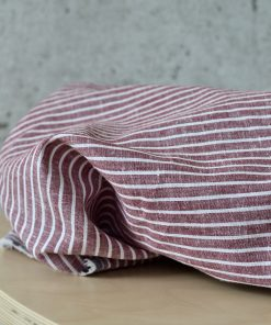 Leinen Cotton Red White Stripes