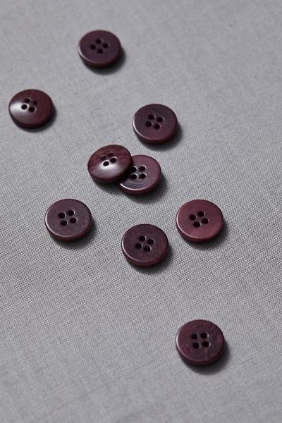 Plain Corozo Button Maroon