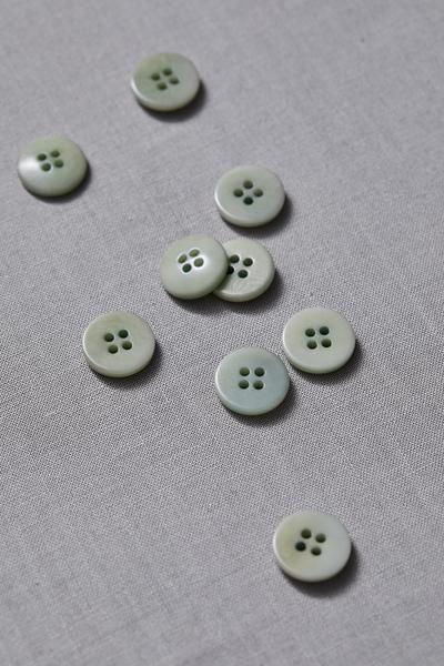 Plain Corozo Button Soft Mint